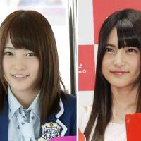 AKB48 members Rina Kawaei (left) and Anna Iriyama were taken to a hospital in Iwate Prefecture on Sunday after a 24-year-old man attacked them with a saw at a fan event in the prefecture. | KYODO