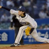 The right stuff: Lions hurler Takayuki Kishi fans eight batters and issues one walk in a 117-pitch gem against the Marines on Friday at QVC Marine Field. Kishi led Seibu to a 2-0 victory over Chiba Lotte.   | KYODO