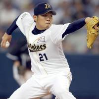 Perfect start: Buffaloes hurler Yuki Nishi improved to 8-0 on the season on Tuesday. Orix defeated the Hanshin Tigers 12-2. | KYODO