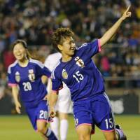 That pleases me: Japan's Yuika Sugasawa celebrates her 86th-minute goal against New Zealand on Thursday night in Osaka. Japan earned a 2-1 victory in the international friendly. | KYODO