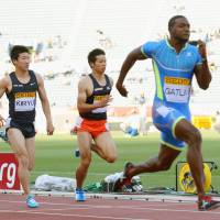 Winning form: Justin Gatlin outraces the competition in Sunday's 100-meter race. | KYODO