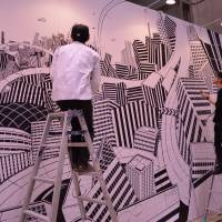 A festival by design: Artists prepare a work for last year's Design Festa.