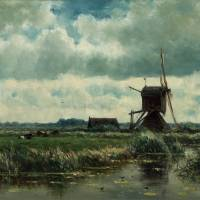 "Darker times: ""Polder Landscape with Windmill, near Abcoude"" (c. 1870) by William Roelofs 