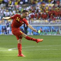 Dries Mertens scores the winning goal for Belgium in the 80th minute of Tuesday's Group H match against Algeria at Mineirao Stadium in Belo Horizonte. | AP