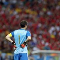 Spain goalkeeper Iker Casillas stands near his goal mouth in the final minutes of Wednesday's Group B match against Chile at the Maracana Stadium in Rio de Janeiro.  | AP