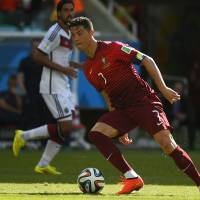 Portugal captain Cristiano Ronaldo controls the ball during Monday's match against Germany.
