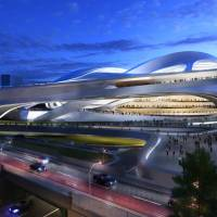 This artist's rendering shows the National Stadium initially designed by Zaha Hadid for the 2020 Tokyo Olympics. | AP