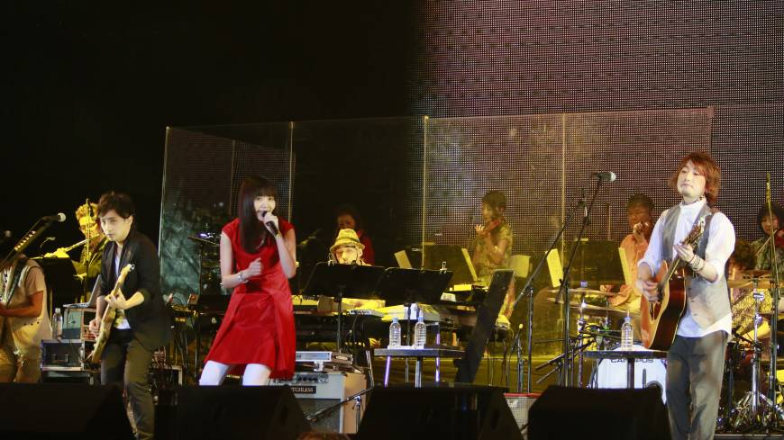 Grand finale: Ikimono-gakari performs at the National Olympic Stadium. The group headlined the first day of Japan Night, a pair of concerts that celebrated the stadium's legacy.