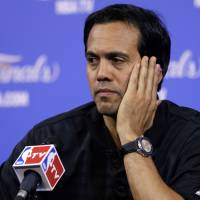 Searching for answers: Miami Heat coach Erik Spoelstra is seeking a solution to his team's woeful defense in the NBA Finals. | AP
