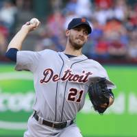 First career shutout: Detroit's Rick Porcello throws a pitch against Texas in the first inning on Thursday. The Tigers blanked the Rangers 6-0. | REUTERS