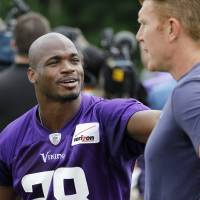 All day: Vikings running back Adrian Peterson says he won't be slowing down just because his 30th birthday is next year. | AP