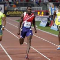 Defends title: American Justin Gatlin wins the 100 meters at the Golden Gala in Rome on Thursday night. Gatlin clocked a time of 9.91 seconds in the victory. | REUTERS