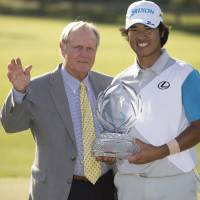 Seal of approval: Memorial host Jack Nicklaus congratulates winner Hideki Matsuyama on Sunday. | REUTERS/USA TODAY