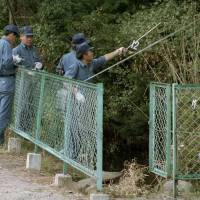 Investigators examine foliage surrounding a fish pond in Matsumoto, Nagano Prefecture, in June 1994 after sarin was detected in the area. | KYODO
