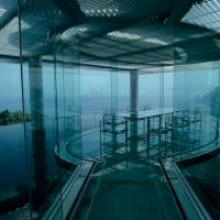 Making a connection: Kengo Kuma's 'Water/Glass' structure in Atami, Shizuoka Prefecture, attempts to connect architecture with the sea by means of a veranda of water. | MITSUMASA FUJITSUKA