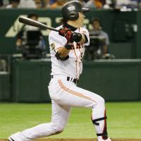 Stand tall: Giants outfielder Yoshiyuki Kamei was named the interleague MVP for the 2014 season. | KYODO