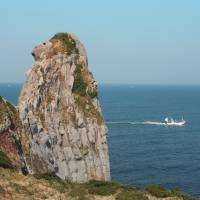 Monkey magic: Saruiwa (Monkey Rock) is a jagged offshore rock resembling a monkey that the gods used to 'peg' Iki Island in place. | EDAN CORKILL