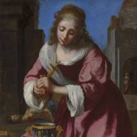 Genuine article: Christie's auction house in London says scientific data has confirmed that 'Saint Praxedis' is the work by Dutch painter Johannes Vermeer.   AP