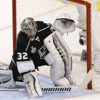 A new reign: Kings goalie Jonathan Quick makes a save during Game 5 on Friday in Los Angeles. | REUTERS