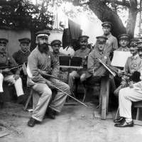 Members of a German POW orchestra pose at the Marugame camp in Kagawa Prefecture in the mid-1910s.   KYODO