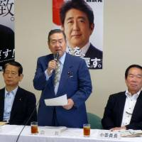 Takeshi Noda, chairman of the Liberal Democratic Party's tax panel, addresses a meeting in Tokyo on Tuesday. | KYODO