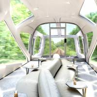 An artist's rendering shows how the interior of the lead car will look on a luxury train JR East hopes to introduce in 2017. The driver will presumably be seated in a sunken control compartment at the front of the car. | JR EAST