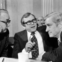 Three members of the Senate Foreign Relations Committee — Sen. Jesse Helms (left), Sen. Howard Baker (center) and Sen. Charles Percy — discuss the vote in favor of the SALT II treaty on Capitol Hill in Washington on Nov. 9, 1979. | AP