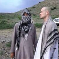 Sgt. Bowe Bergdahl is seen moments before his release, in a still from a video apparently shot by the Taliban. | AP
