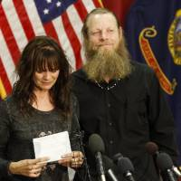 Jani and Bob Bergdahl speak to reporters in Boise, Idaho, on Sunday, following the release of their son, Sgt. Bowe Bergdahl, from Taliban captivity.   AP