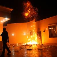 The U.S. Consulate in Benghazi, Libya, seen during a Sept. 11, 2012, attack by an armed group. Ahmed Abu Khatallah, a key suspect, was captured by U.S. special forces over the weekend, U.S. officials said Tuesday.   REUTERS