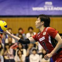 Putting the ball in play: Japan's Yu Koshikawa serves against Argentina on Saturday in their World League Pool D match. FIVB