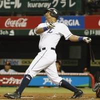So far, so good: Lions infielder Ernesto Mejia has gotten off to a strong start with the Pacific League club.   KYODO