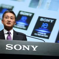 Kazuo Hirai, president and chief executive officer of Sony Corp., speaks at a news conference in Tokyo in May. | BLOOMBERG
