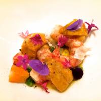 Sea urchin and warm shrimp coupled with green chli and sudachi. | ROBBIE SWINNERTON