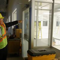 During a tour of Olympus Corp.'s new facility in Brooklyn Park, Minnesota, on June 24, Scott Larson, vice president of operations, talks about the advantages of consolidating the company's medical device production from five buildings in a nearby city to a larger building. | KYODO