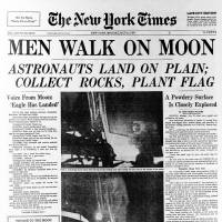 The front page of the New York Times on July 21, 1969, splashed the lunar landing of Apollo 11. The 45th anniversary of the landing is Sunday. | AP