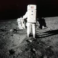 Edwin 'Buzz' Aldrin carries scientific experiments to a deployment site south of the lunar module Eagle during the Apollo 11 mission in this July 20, 1969, photo provided by NASA. | AP