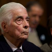 Former Argentine Army Gen. Luciano Benjamin Menendez attends his trial in Cordoba in July 2010. A court has convicted Menendez and another former military officer in the death of leftist Bishop Enrique Angelelli during the country's military dictatorship. | AP