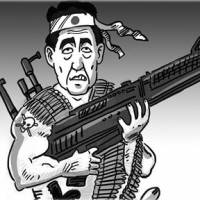 A cartoon run Wednesday by the Chinese newspaper Global Times depicts Prime Minister Shinzo Abe as American action hero Rambo with a machine gun. | GLOBAL TIMES WEBSITE