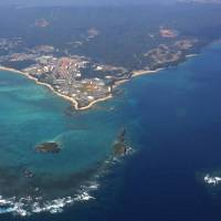 This aerial image, taken in February, shows the Henoko district in the city of Nago, on the main island of Okinawa Island, where relocation of the U.S. Marine Corps Air Station Futenma is being planned. | KYODO