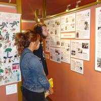 Students visit an exhibition on Japan's wartime sex slavery at the Women's Active Museum in Tokyo last week. | KYODO