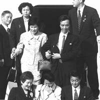 Five people abducted by North Korea in the 1970s make a dramatic return to Japan in October 2011. Speculation is simmering that Prime Minister Shinzo Abe could use a possible breakthrough on the long-standing abductions issue to call a snap election. | KYODO
