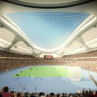 A sketch of how the new National Stadium will look when the roof is not covered by what the Japan Sport Council calls a 'sound insulation device.' | JAPAN SPORT COUNCIL