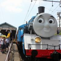 Thomas the Tank Engine appears on Wednesday in the city of Shimada, Shizuoka Prefecture. | KYODO