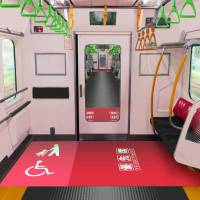 All cars in a new train series that will be introduced next year on Tokyo's busy Yamanote Line will feature a 'free space' large enough to accommodate baby strollers and wheelchairs. | EAST JAPAN RAILWAY CO./KYODO