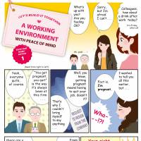 Birthing pains: A translated page from the 'Working Persons' Maternity Harassment Handbook' produced by the Japanese Trade Union Confederation (Rengo).© JTUC-RENGO; TRANSLATION BY THE JAPAN TIMES