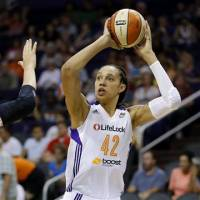 Settling in: Center Brittney Griner has led the Phoenix Mercury to 11 straight wins and a 17-3 record during her second season in the WNBA. | AP