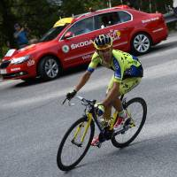 First victory: Poland's Rafal Majka negotiates a turn during the 14th stage of the Tour de France on Saturday. Majka won in a time of 5 hours, 8 minutes, 27 seconds. | AFP-JIJI