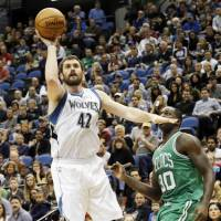 Man in demand: Minnesota Timberwolves forward Kevin Love, who will be a free agent after next season, has been the focus of constant trade speculation for several weeks. | AP