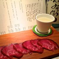 Perfect partners: Pastrami at Sakana no Nakasei pairs great with sake. | ROBBIE SWINNERTON